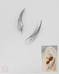 Cercei agrafa - ear pins model pana  argint oxidat