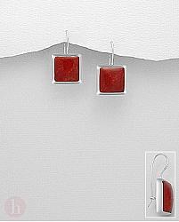 Cercei argint patrati piatra rosie