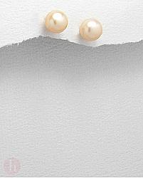 Cercei argint perla roz 8 mm