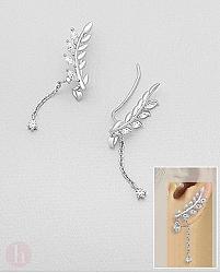 Cercei argint rodiat agrafa - ear pins model frunza cu cristale si lantisor