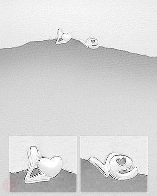 Cercei argint simplu Love si inima