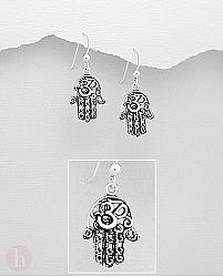 Cercei argint simplu simbol Hamsa - Mana Fatimei - Hand of Fatima
