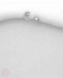 Cercei argint model stea si luna cu cristale albe