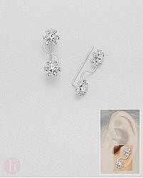 Cercei argint tip agrafa flori cu cristale albe