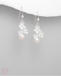 Cercei argint trei flori si perla de cultura