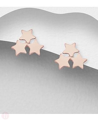 Cercei argint trei stelute placate cu aur