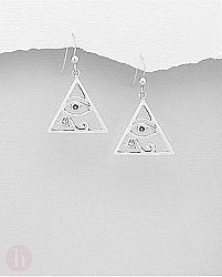 Cercei argint triunghi Ochiul lui Ra
