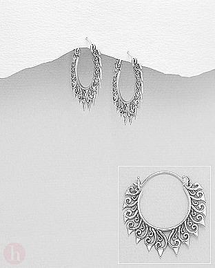Cercei argint veriga dantela spiralata