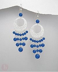 Cercei candelabru argint agate albastre