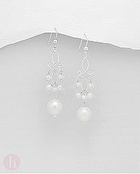Cercei candelabru din argint cu perle albe