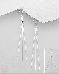 Cercei casual lungi din argint cu bare si bilute
