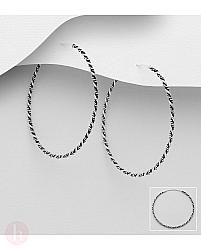 Cercei creole din argint model veriga rasucita