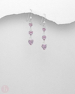 Cercei cu 3 cristale inima roz