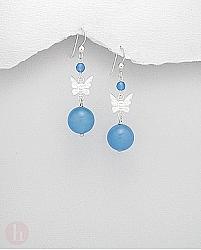 Cercei cu agate albastre si fluturas