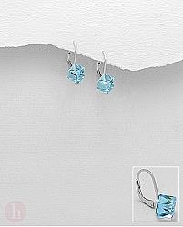 Cercei cu Swarovski bleu forma de cub