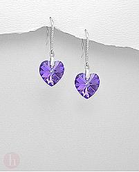 Cercei cu Swarovski inimioara violet