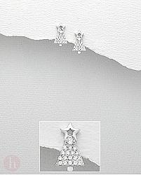Cercei din argint brad de Craciun cu stea si cristale albe