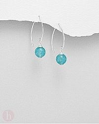 Cercei din argint cu bilute de jad albastru