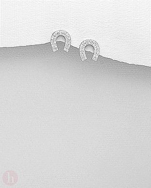 Cercei din argint cu cristale model potcoava de cal