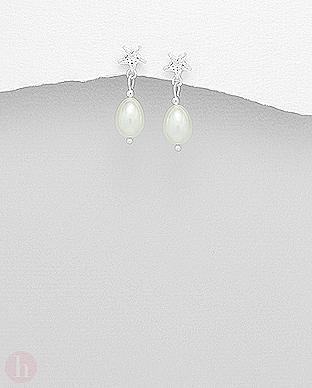 Cercei din argint cu cristale si perle