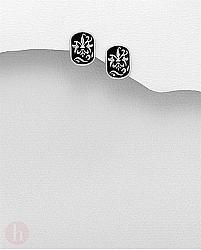 Cercei din argint cu email negru si floare de crin