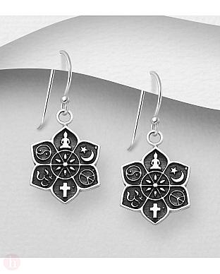 Cercei din argint cu floare de lotus si Yin-Yang