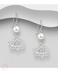 Cercei din argint cu floare de lotus si perla alba