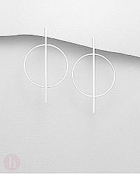 Cercei din argint cu forme geometrice - bara si cerc