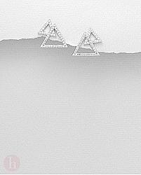 Cercei din argint cu cristale albe si forme geometrice - triunghiuri