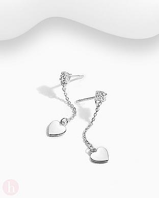 Cercei din argint cu inima, lant si cristal alb