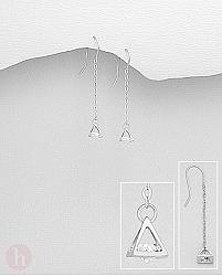 Cercei din argint cu lantisor, cristal si piramida