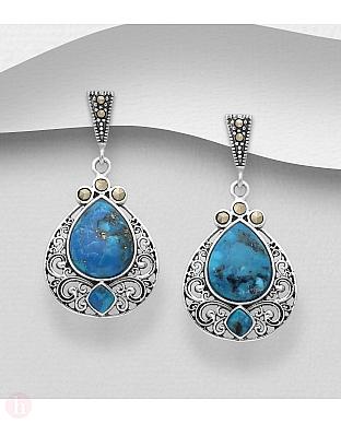 Cercei din argint cu marcasite si pietre albastre