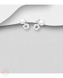 Cercei din argint cu perla, floare si frunza