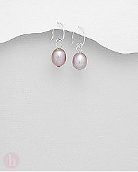 Cercei din argint cu perla violet