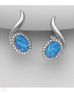 Cercei din argint cu piatra albastra si cristale albe