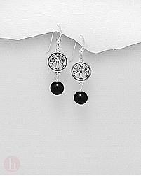 Cercei din argint cu piatra neagra de onix si pomul vietii - tree of life