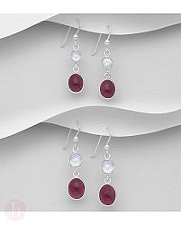 Cercei din argint cu pietre albe si rosii