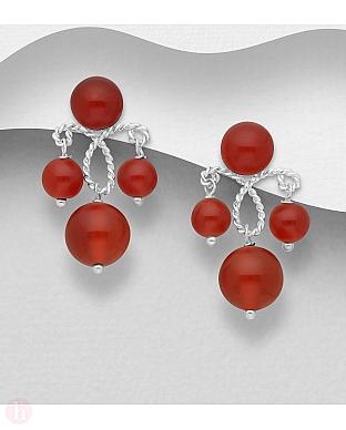 Cercei din argint cu pietre rosii
