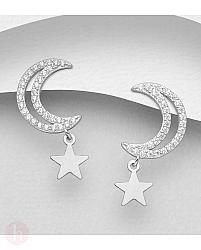 Cercei din argint cu stea, luna si cristale
