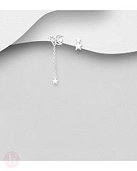 Cercei din argint cu stea, luna si lantisor