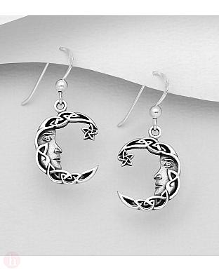 Cercei din argint cu stea si luna