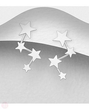 Cercei din argint cu stelute