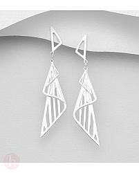Cercei din argint cu triunghiuri stilizate