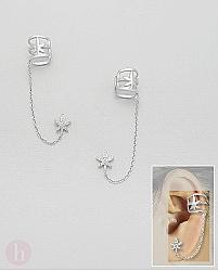 Cercei din argint Ear cuff cu stea, cristale si lantisor