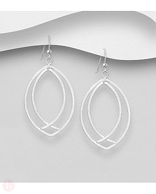 Cercei geometrici din argint mat model oval
