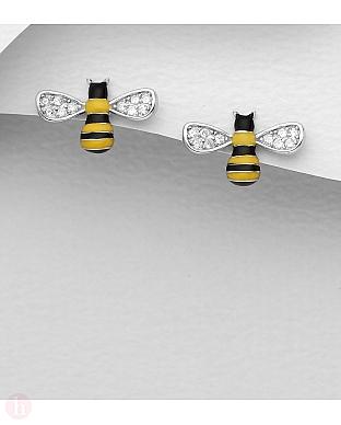 Cercei din argint model albinuta cu cristale albe