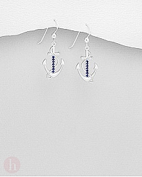 Cercei din argint model ancora incrustata cu pietre albastre de safir
