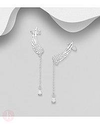 Cercei din argint model aripi cu lantisor si cristale