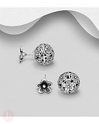 Cercei din argint model biluta cu flori
