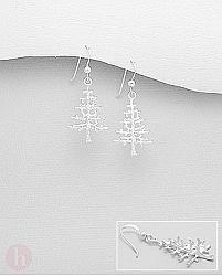 Cercei din argint model brad de Craciun